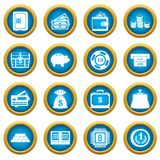 Different money icons blue circle set Royalty Free Stock Image