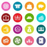 Different money icons many colors set Stock Photo