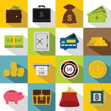 Different money icons set, flat style. Different money icons set. Flat illustration of 16 different money icons for web Stock Illustration