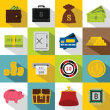 Different money icons set, flat style Royalty Free Stock Photography