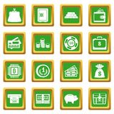 Different money icons set green. Different money icons set in green color isolated vector illustration for web and any design Royalty Free Stock Image