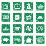 Different money icons set grunge. Different money icons set in grunge style green isolated vector illustration Stock Photography