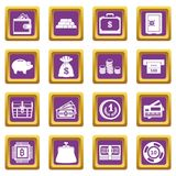 Different money icons set purple. Different money icons set in purple color isolated vector illustration for web and any design Royalty Free Stock Photo
