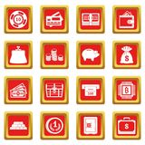 Different money icons set red. Different money icons set in red color isolated vector illustration for web and any design Stock Images
