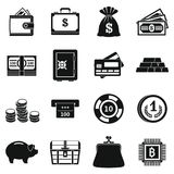 Different money icons set, simple style. Different money icons set. Simple illustration of 16 different money icons for web Stock Illustration