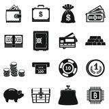 Different money icons set, simple style. Different money icons set. Simple illustration of 16 different money vector icons for web Royalty Free Stock Photography