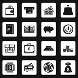 Different money icons set squares vector. Different money icons set in white squares on black background simple style vector illustration Stock Photography