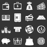 Different money icons set grey vector. Different money icons set vector white isolated on grey background Royalty Free Stock Images