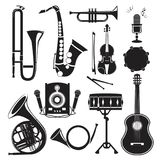 Different monochrome pictures of musical instruments isolated on white. Vector pictures set Royalty Free Stock Photo