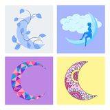 Different moon nature cosmos cycle satellite surface whole cycle from new star vector illustration. Stock Photography
