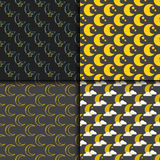 Different moon nature seamless pattern satellite surface whole cycle from new star vector illustration. Different moon seamless pattern nature cosmos cycle Stock Image