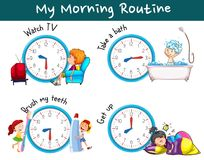 Different morning routines at different times. Illustration vector illustration