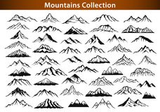 Different mountain ranges silhouette collection Stock Photos