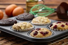 Different Muffins in bakeware or muffin pan on broun wooden background. Basic muffin recipe. Homemade muffins for breakfast or des. Sert. Ingredients stock photos