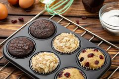 Different Muffins in bakeware or muffin pan on broun wooden background. Basic muffin recipe. Homemade muffins for breakfast or des. Sert. Ingredients royalty free stock photos