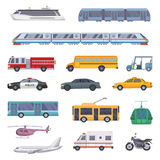 Different municipal transportation set. Vector illustrations of cars. Collection of transport ambulance and police, firetruck and taxi service car Royalty Free Stock Photos