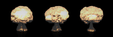 Different Mushroom Clouds of Nuclear Explosion Stock Images
