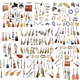 Different music instruments. Under the white background Royalty Free Stock Photos