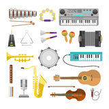 Different music instruments vector musical guitar violin and sound classical concert trumpet collection entertainment Stock Images