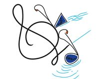 Different music notes with different backgrounds. stock illustration