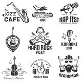 Different music styles retro emblems. And rock, jazz, rap and disco labels set Stock Photography