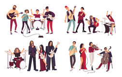 Different musical bands. Indie, metal, punk rock, jazz, cabaret. Young artists, musicians singing and playing music. Instruments. Colorful flat illustration set stock illustration