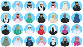 Different muslim arab people characters avatars icons set in flat style isolated on blue background. Differences islamic. Detailed illustration of different arab Stock Photo