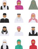 Different muslim arab people characters avatars icons set in flat style isolated on white background.. Detailed illustration of different arab people avatars Royalty Free Stock Images