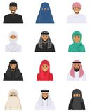 Different muslim arab people characters avatars icons set in flat style isolated on white background. Differences islamic. Detailed illustration of different Royalty Free Stock Photography