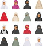 Different muslim arab people characters avatars icons set in flat style  on white background. Differences Royalty Free Stock Photo