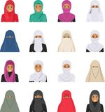 Different muslim arab people characters avatars icons set in flat style  on white background. Differences. Detailed illustration of different arab woman avatars Stock Photo
