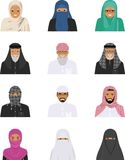 Different muslim arab people characters avatars icons set in flat style  on white background. Differences. Detailed illustration of different arab people avatars Royalty Free Stock Photography