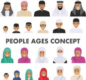 Different muslim arab people characters avatars icons set in flat style  on white background. Differences. Detailed illustration of different arab people avatars Stock Image