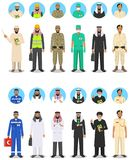 Different muslim Middle East people professions occupation characters man set in flat style. Set of avatars icons. Templates for i Royalty Free Stock Images