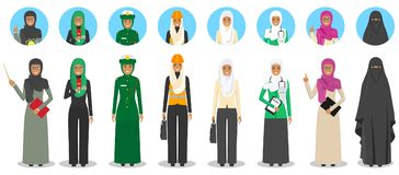 Different muslim Middle East people professions occupation characters woman set in flat style  on white background. Set of Stock Image