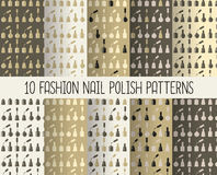10 different nail polish seamless patterns in Marsala trendy col Royalty Free Stock Photography
