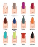 Different nail shapes - Fingernails fashion Trends Royalty Free Stock Images
