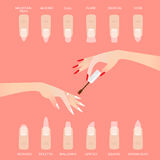 Different nail shapes. Woman fingers. Royalty Free Stock Photos