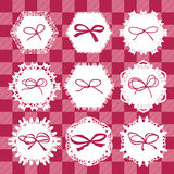 Different napkins with decorative ribbons Stock Images