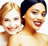 Different nation woman: african-american, caucasian together isolated on white background happy smiling, diverse type on Stock Image