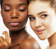 Different nation woman: african-american, caucasian together  on white background happy smiling, diverse type on Stock Photo