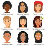 Different nationalities girls avatar faces color flat icons set Stock Images