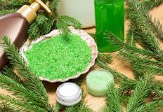 Different natural cosmetic products for skincare with firry bran Stock Images