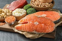 Different natural food on table. High protein. Diet stock photos
