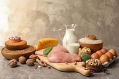 Different natural food on table. High protein. Diet stock image