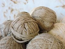 Natural linen thread balls, Lithuania stock images