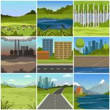 Different natural summer landscapes set, scenes of city, factory, forest, field, hills, road, river and lake. Vector Illustrations Royalty Free Stock Images