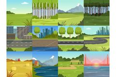 Free Different Natural Summer Landscapes Set, Scenes Of City, Park, Field, Mountain, Road, River And Bridge Stock Image - 125583921