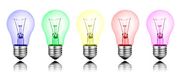 Different New Ideas - Row of Colored Lightbulbs royalty free illustration