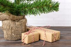 Different New Year`s gifts wrapped in wrapping paper under the Christmas tree branch.  Stock Image